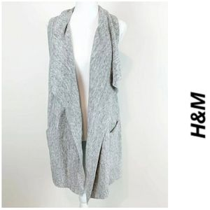 H&M WATERFALL SLEEVELESS OPEN DUSTER CARDIGAN